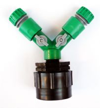 "IBC Adapter (HD) to TWIN 1/2"" (13mm) SNAP-ON Garden Hose Fittings. C/w ON/OFF Taps and 2 x Female Hose Connectors"